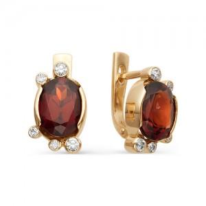 Серьги из красного золота 585 пробы с полудрагоценными камнями арт. 21-11-124