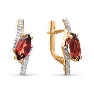 Серьги из красного золота 585 пробы с полудрагоценными камнями арт. 21-11-207