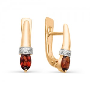 Серьги из красного золота 585 пробы с полудрагоценными камнями арт. 21-11-008