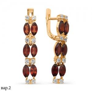 Серьги из красного золота 585 пробы с полудрагоценными камнями арт. 21-11-131