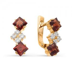 Серьги из красного золота 585 пробы с полудрагоценными камнями арт. 21-11-132