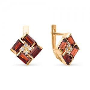 Серьги из красного золота 585 пробы с полудрагоценными камнями арт. 21-11-199