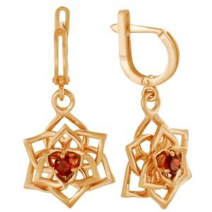 Серьги из красного золота 585 пробы с полудрагоценными камнями арт. 21-11-261