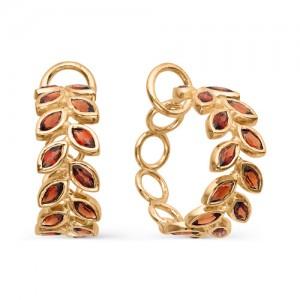 Серьги из красного золота 585 пробы с полудрагоценными камнями арт. 21-11-304