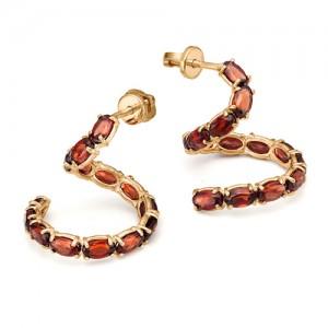 Серьги из красного золота 585 пробы с полудрагоценными камнями арт. 21-11-306_1