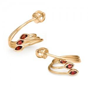 Серьги из красного золота 585 пробы с полудрагоценными камнями арт. 21-11-307