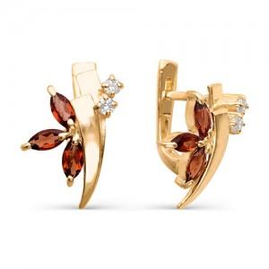 Серьги из красного золота 585 пробы с полудрагоценными камнями арт. 21-11-097