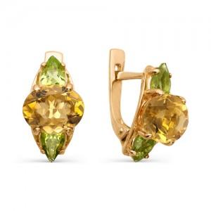 Серьги из красного золота 585 пробы с полудрагоценными камнями арт. 21-22-235