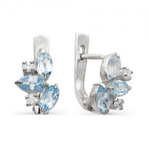 Серьги из серебра 925 пробы с полудрагоценными камнями арт. 23-10-070
