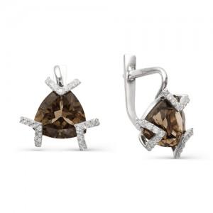Серьги из серебра 925 пробы с полудрагоценными камнями арт. 23-14-190