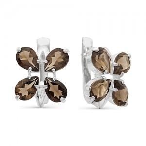 Серьги из серебра 925 пробы с полудрагоценными камнями арт. 23-14-126