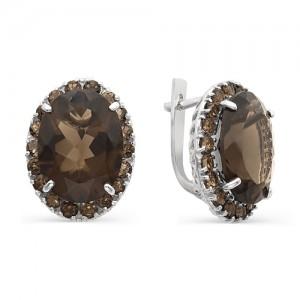 Серьги из серебра 925 пробы с полудрагоценными камнями арт. 23-14-272