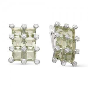 Серьги из серебра 925 пробы с полудрагоценными камнями арт. 23-17-239