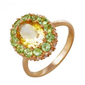 Кольцо из красного золота 585 пробы с полудрагоценными камнями арт. 11-22-240