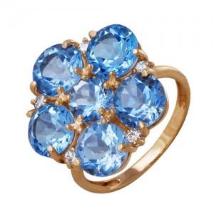 Кольцо из красного золота 585 пробы с полудрагоценными камнями арт. 11-10-242