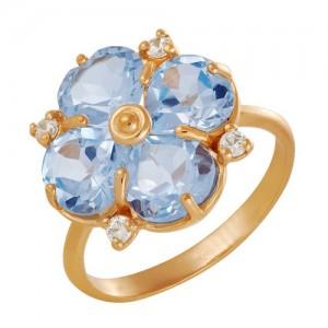 Кольцо из красного золота 585 пробы с полудрагоценными камнями арт. 11-10-244