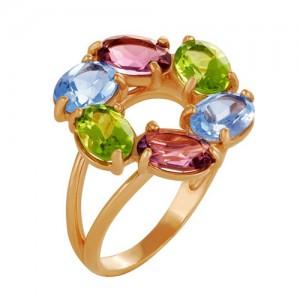 Кольцо из красного золота 585 пробы с полудрагоценными камнями арт. 11-22-252