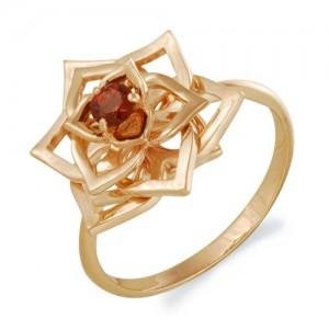 Кольцо из красного золота 585 пробы с полудрагоценными камнями арт. 11-11-261
