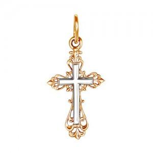 Крест из красного и белого золота 585 пробы арт. 308-1-416