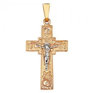 Крест из красного и белого золота 585 пробы арт. 308-1-431