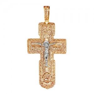Крест из красного и белого золота 585 пробы арт. 308-1-432