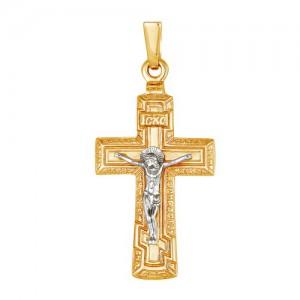 Крест из красного и белого золота 585 пробы арт. 308-1-438