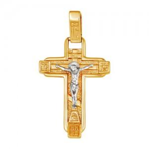 Крест из красного и белого золота 585 пробы арт. 308-1-440