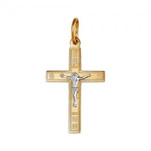 Крест из красного и белого золота 585 пробы арт. 308-1-444