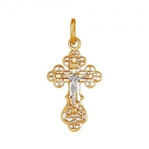 Крест из красного и белого золота 585 пробы арт. 308-1-446