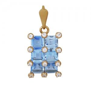 Подвеска из красного золота 585 пробы с полудрагоценными камнями арт. 31-10-239