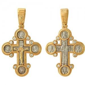 Крест из красного и белого золота 585 пробы арт. 328-1-612