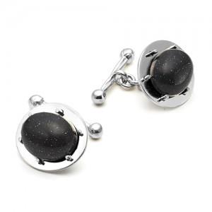 Запонки из серебра 925 пробы с Авантюрином черным, арт.12-3-26-001