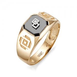 Печатка мужская из золота 585 пробы с фианитами арт. 91-02-412