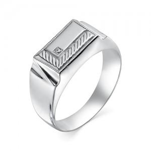 Печатка мужская из серебра 925 пробы с фианитами арт. 93-02-137