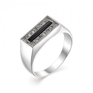 Печатка мужская из серебра 925 пробы с фианитами арт. 93-02-178