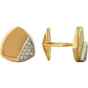 Запонки из красного золота 585 пробы с фианитами арт. 028-1-662