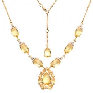 Ожерелье из красного золота 585 пробы с цитринами и фианитами арт. О-0005