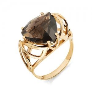 Кольцо из красного золота 585 пробы с раухтопазом арт. К-1006