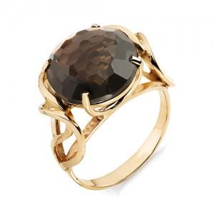 Кольцо из красного золота 585 пробы с раухтопазом арт. К-1007