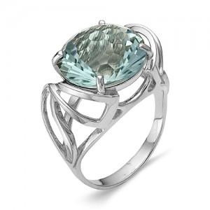 Кольцо из серебра 925 пробы с аквамариновым кварцем арт. К-0007