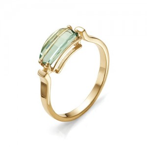 Кольцо из красного золота 585 пробы с аквамариновым кварцем арт. К-1011