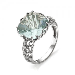 Кольцо из серебра 925 пробы с аквамариновым кварцем арт. К-0013