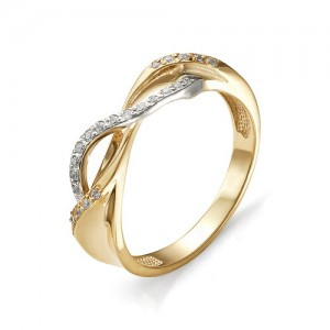 Кольцо из красного золота 585 пробы с фианитами арт. К-1017