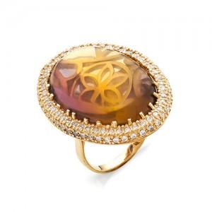 Кольцо из красного золота 585 пробы с аметрином арт. К-1022