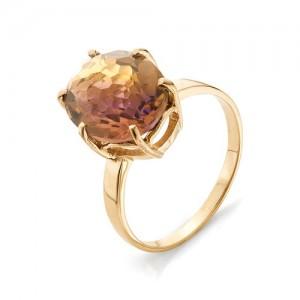 Кольцо из красного золота 585 пробы с аметрином арт. К-1024