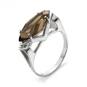 Кольцо из серебра 925 пробы с раухтопазом арт. К-0027