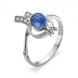 Кольцо из серебра 925 пробы с голубым кварцем арт. К-0030А