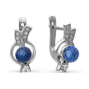 Серьги из серебра 925 пробы с голубым кварцем арт. С-0030А