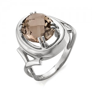 Кольцо из серебра 925 пробы с раухтопазом арт. К-0036