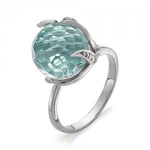 Кольцо из серебра 925 пробы с аквамариновым кварцем арт. К-0037А